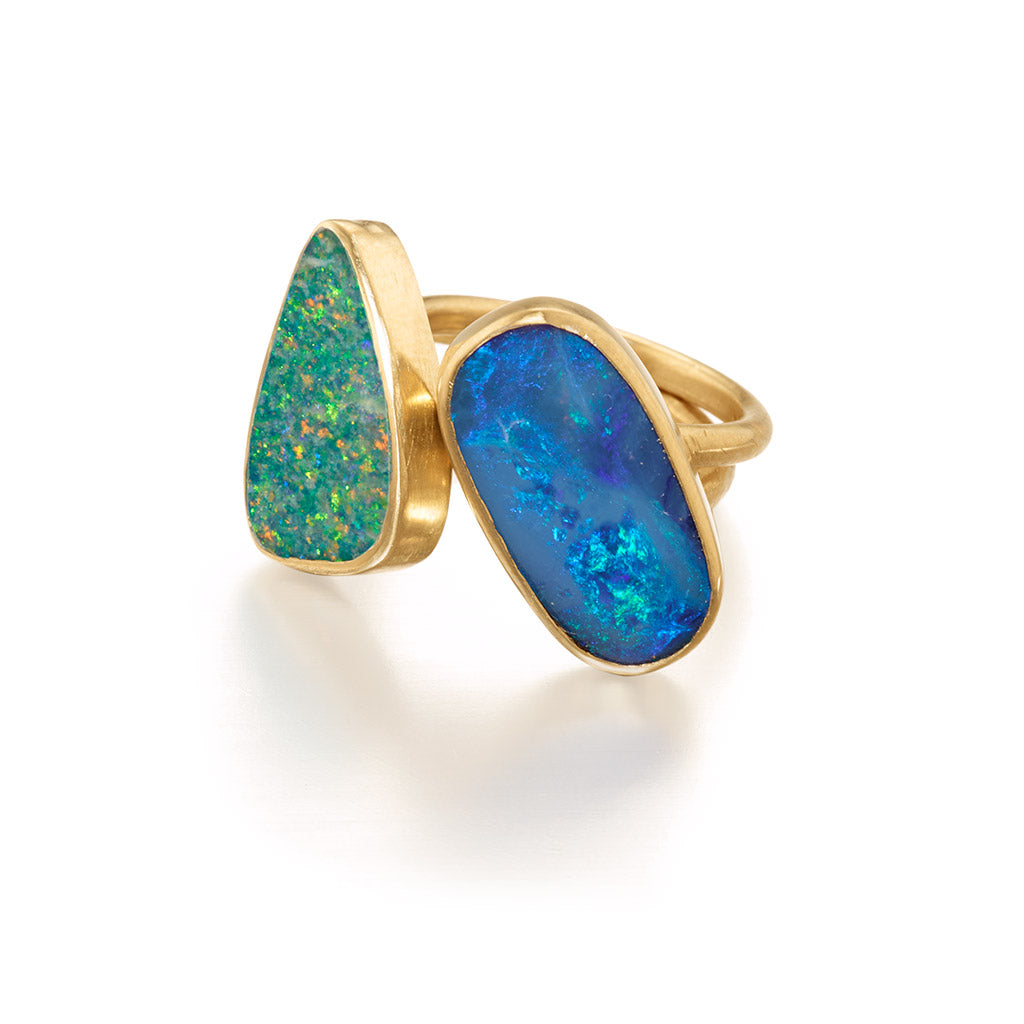 Aqua and Blue Opal Stacking Rings in 14k Gold