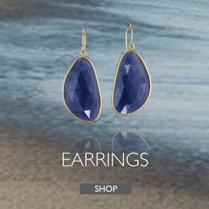 Earrings Collection by Jane Bartel Jewelry. Blue sapphire earrings in 14k gold.
