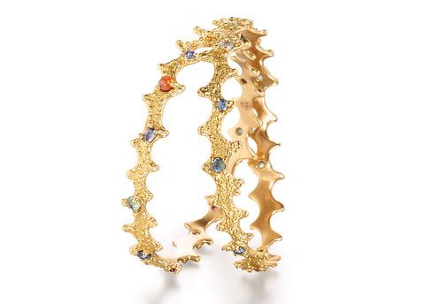 18k gold and colored sapphire bangles by Jane Bartel Jewelry