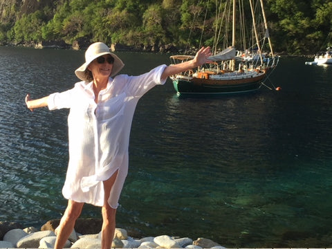 Jane Bartel in St. Lucia loving the ocean