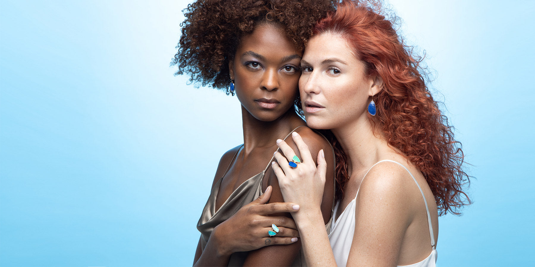 Kristina and Elaine Modeling Opal Rings and Sapphire Earrings by Jane Bartel Jewelry