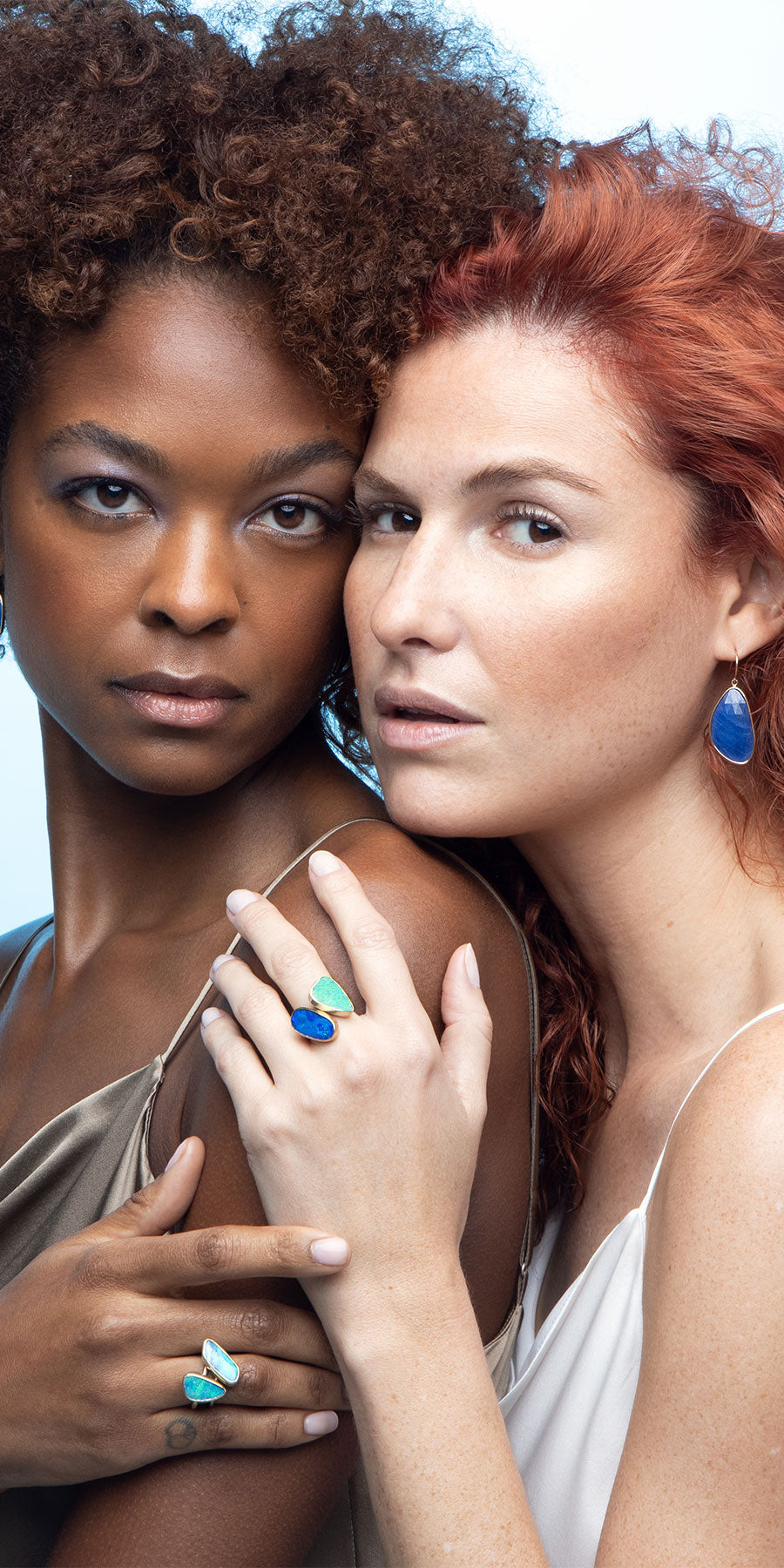 Kristina and Elaine Modeling Blue Opal Stacking Rings and Blue Sapphire Earrings by Jane Bartel Jewelry
