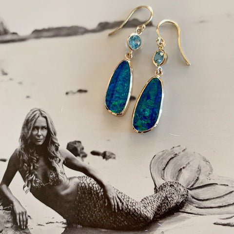 Indulge your inner mermaid with Australian opal earrings by Jane Bartel Jewelry
