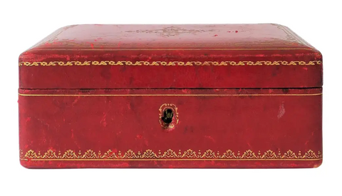 Red Leather Vintage Jewelry Box