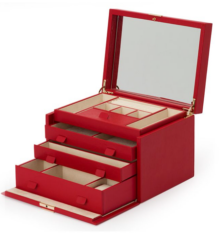 Wolf1834 Red Leather Jewelry Box