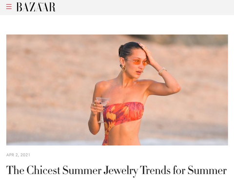 Summer trends editorial from Harper's Bazaar online April edition featuring 14k gold and diamond hoops by Jane Bartel Jewelry