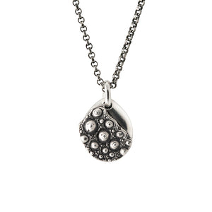 sea urchin textured sterling silver teardrop pendant necklace