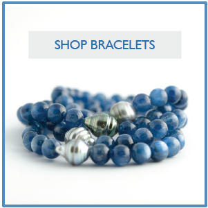 Blue Kyanite and Tahitian Pearl Stacking Stretch Bracelets