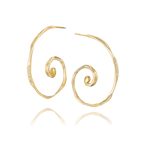 18k Gold and Diamond Hoop Earrings Inspired by the Ocean Waves