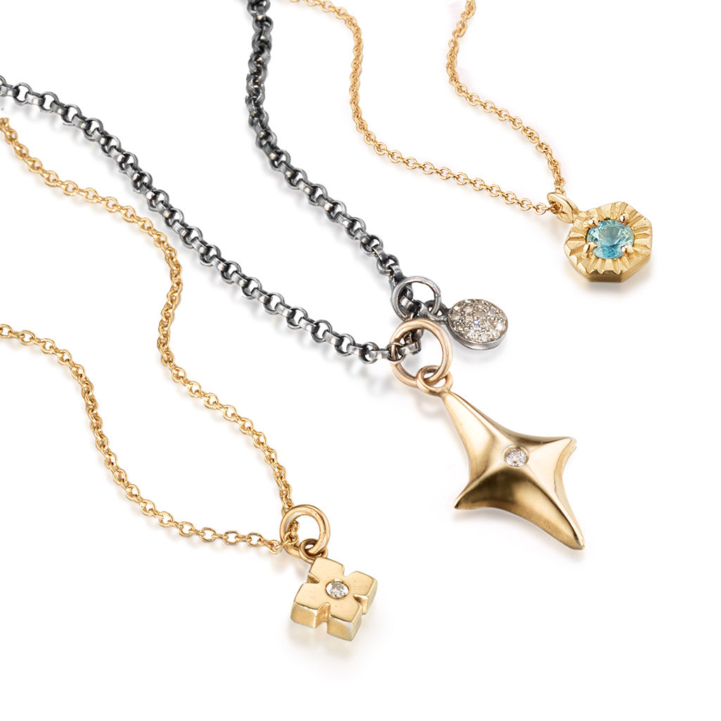 Collection of Three 14k Gold and Gemstone Necklaces by Jane Bartel Jewelry