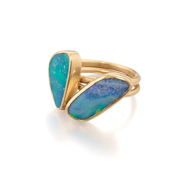 Ocean Inspired Blue Opal Stacking Rings in 14k Gold by Jane Bartel Jewelry