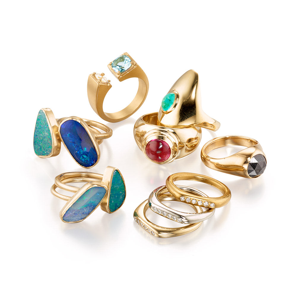 18k and 14k Gold Ring Collection by Jane Bartel Jewelry
