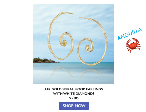14k gold spiral hoop earrings with white diamonds by Jane Bartel Jewelry Ocean Inspired Jewelry