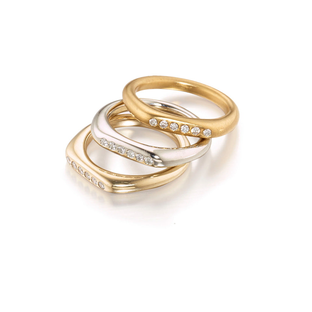 Minimal Gold Stacking Rings in 14k, 19k and 22k Gold with White Diamonds