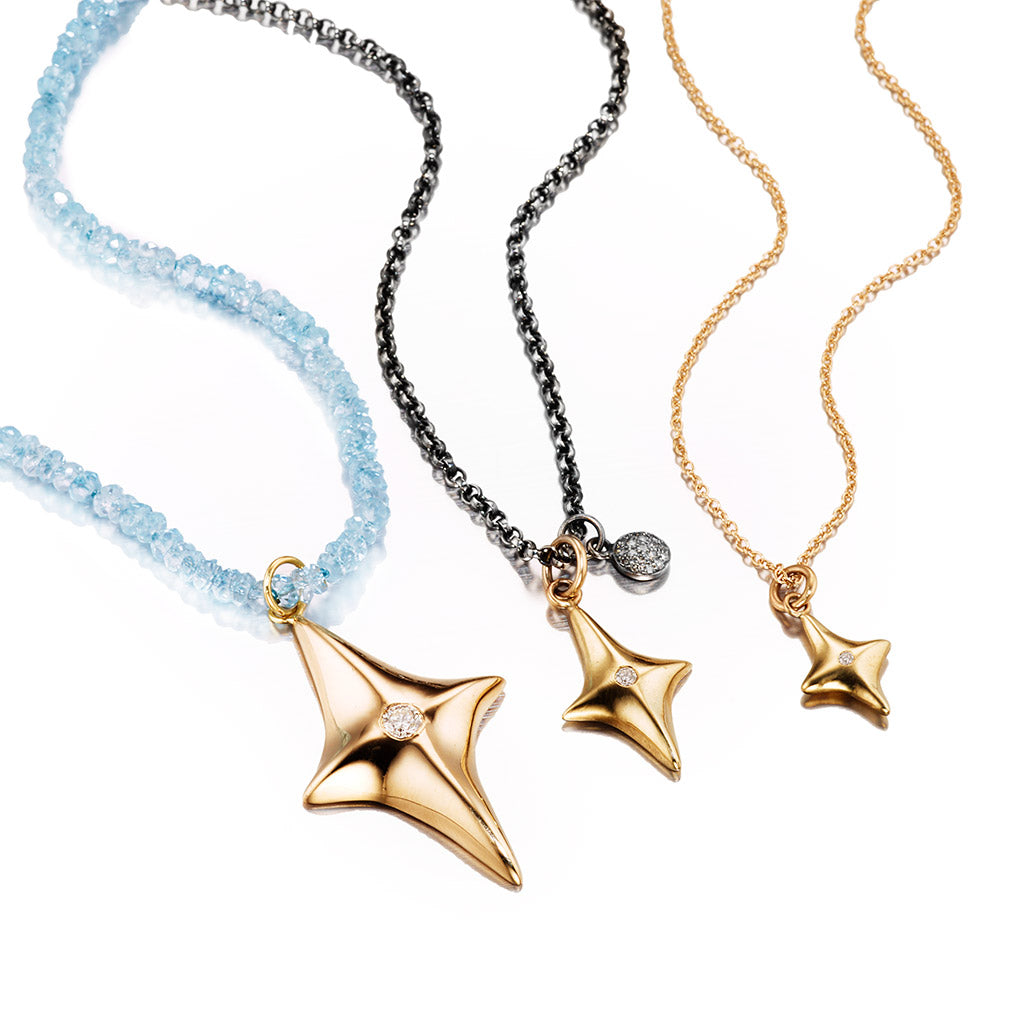Three Star Pendant Necklaces in 14k Gold with White Diamonds from the Classics Collection by Jane Bartel Jewelry