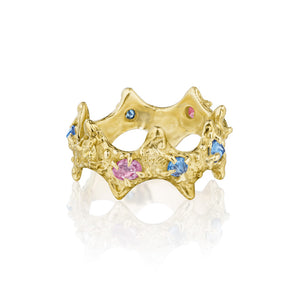 18k gold sea urchin textured ring with colored sapphires