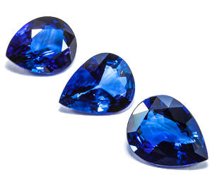 Dazzling blue pear shaped sapphires