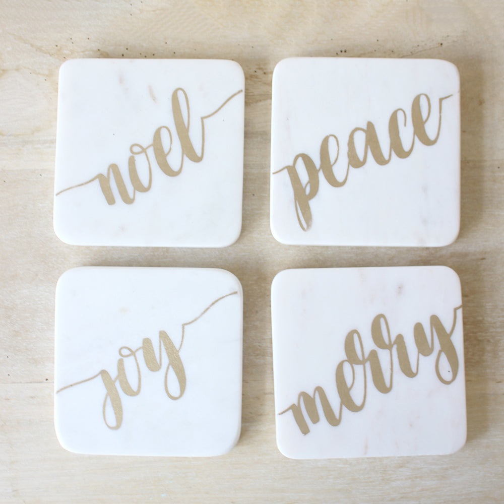 Christmas Tidings Marble Coasters White