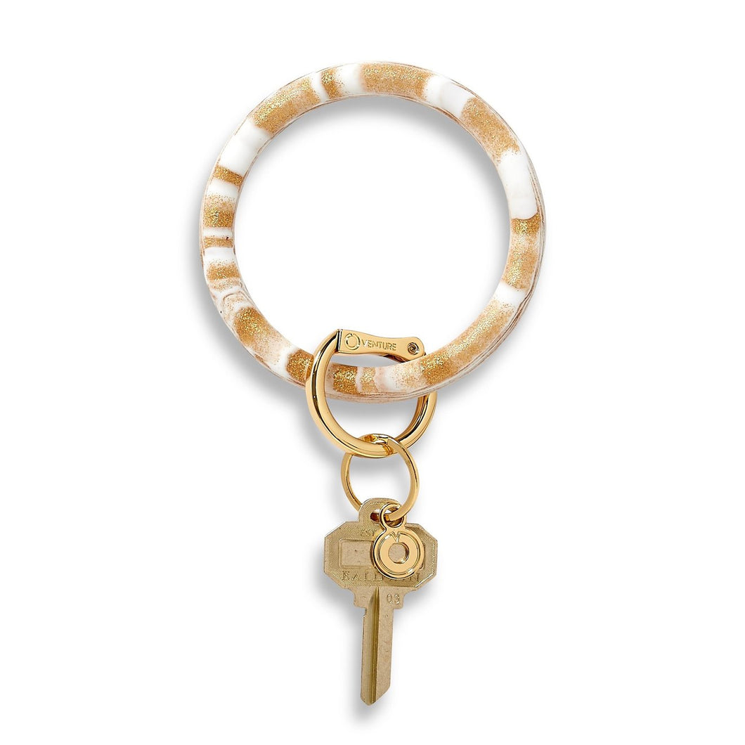 Big O' Silicone Key Ring- Gold Rush Marble