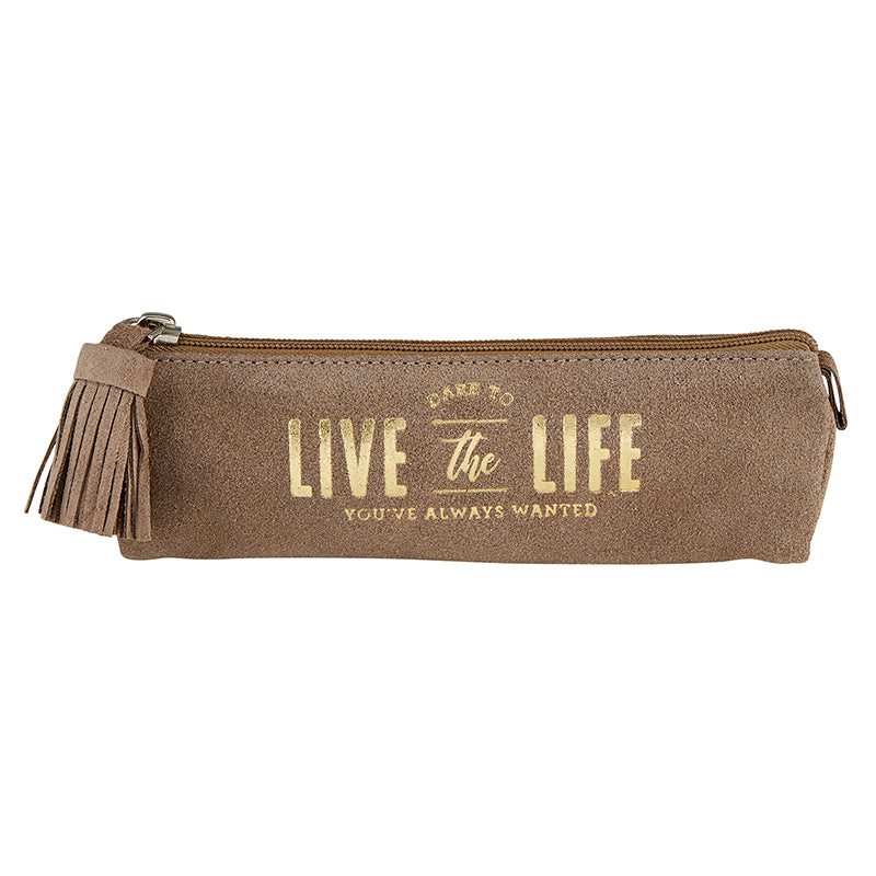 Suede Leather Pouch- Life
