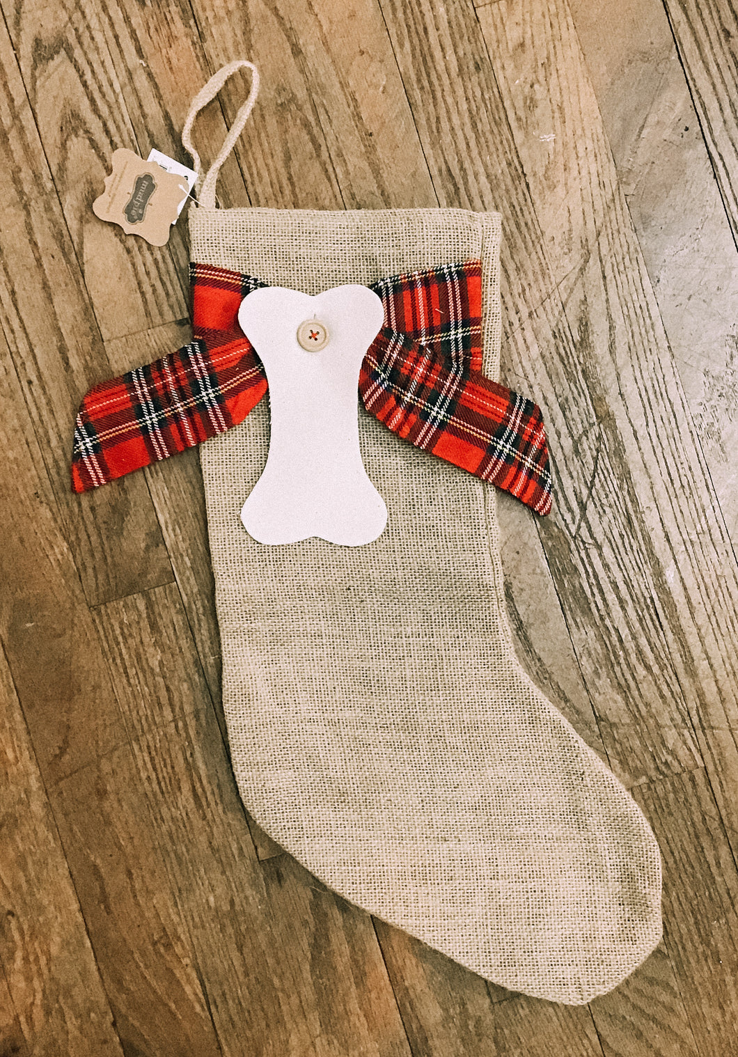 Burlap Pet Stocking With Bone and Bow