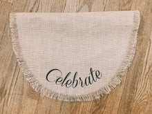Load image into Gallery viewer, Celebrate Burlap Oval Table Runner