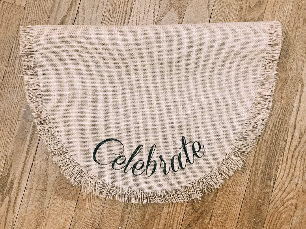 Celebrate Burlap Oval Table Runner