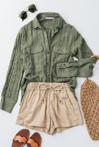 Teasel Taupe Linen Shorts