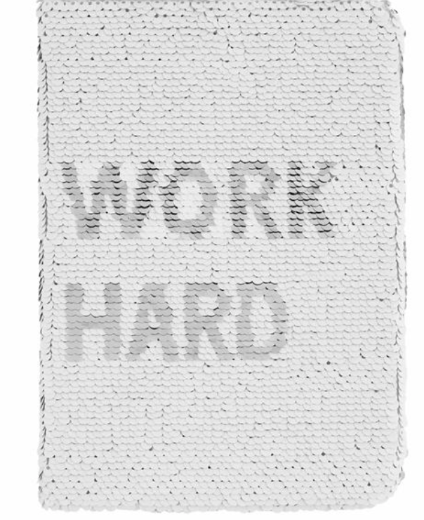 Work Hard Sequin Notebook