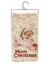 Load image into Gallery viewer, Santa Merry Christmas Dish Towel