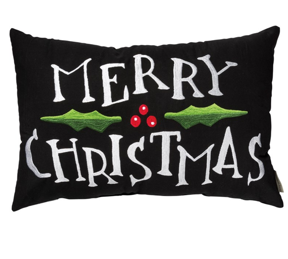 Merry Christmas Pillow Black