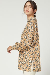Amaranth V Neck Leopard Sweater