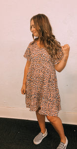 Chrysanthemum Pink Leopard Dress