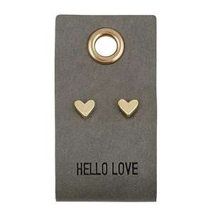 LEATHER TAG EARRINGS - HEART