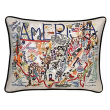 America Hand Embroidered Pillow