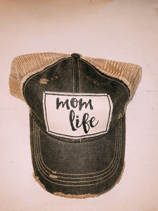 Mom Life Distressed Mesh Back Hat