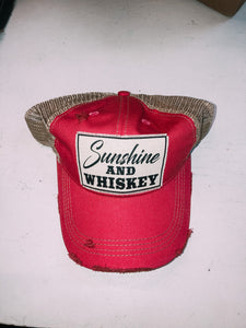 Sunshine and Whiskey Distressed Mesh Back Hat