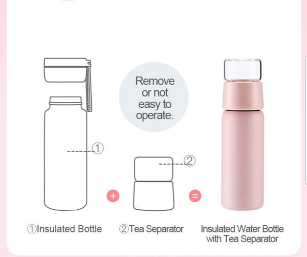 Pink Tea Infuser Bottle | Fruit Infused Water Bottle | Insulated Travel Tumbler