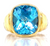 David Yurman Blue Topaz 14 Karat Yellow Gold Sterling Silver Thoroughbred Ring