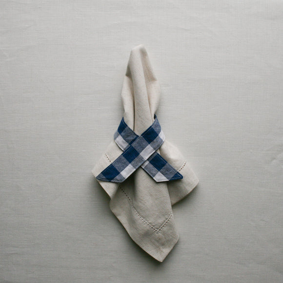NATURAL LINEN NAPKIN & GINGHAM NAPKIN RING