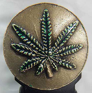 Marijuana Leaf - Brass