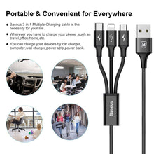 Load image into Gallery viewer, Baseus Rapid Series 3 in 1 USB Data Cable Charger For Apple + MicroUSB + Type-C CAMLT-SU01
