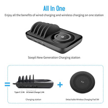 Load image into Gallery viewer, SooPii 5V 7A fast charger Multi port charging station with wireless pad and 4 pcs cables for iPhone Samsung Huawei Xiaomi