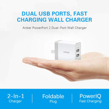 Load image into Gallery viewer, Anker A2129 PowerPort 2 Lite 12W Dual USB Wall Charger with PowerIQ & Foldable Plug