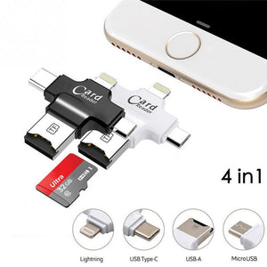 4 In 1 Micro Memory USB SD Card Reader USB 2.0 ABS Shell For Computer  Mobile Phone