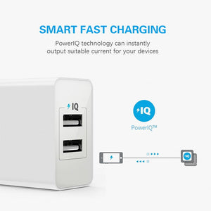 Anker A2129 PowerPort 2 Lite 12W Dual USB Wall Charger with PowerIQ & Foldable Plug