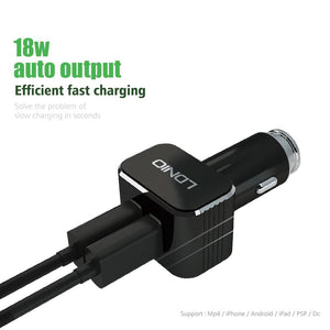 LDNIO C306 3.6A Black Color Smart Mobile Phone Car Charger With 2 USB Port Micro USB Cable For Charging Nokia/HTC/Power Pank