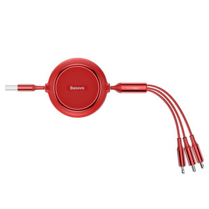Baseus Golden Loop 3in1 USB cable - micro USB / Lightning / USB-C 3.5A 35cm - 120cm red (CAMLT-JH09)