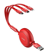 Load image into Gallery viewer, Baseus Golden Loop 3in1 USB cable - micro USB / Lightning / USB-C 3.5A 35cm - 120cm red (CAMLT-JH09)