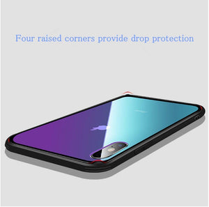 Luxury Tempered Glass Case for iPhone Gradient Aurora Soft Silicone Frame Protective Clear Cover